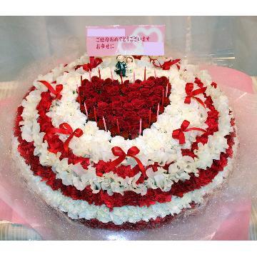 <フジテレビフラワーネット> ケーキフラワーL:結婚式のお祝いにもピッタリ!最大級に華やかなハートのケーキフラワー画像