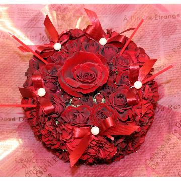 <フジテレビフラワーネット> ケーキフラワーS:記憶に残るプレゼント!真っ赤なケーキフラワー画像