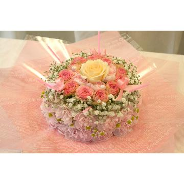 <フジテレビフラワーネット> 【NEW】ケーキフラワーS:ピンクたっぷり♪ラブリー度100点満点ケーキ★当店ケーキ人気No.1★画像