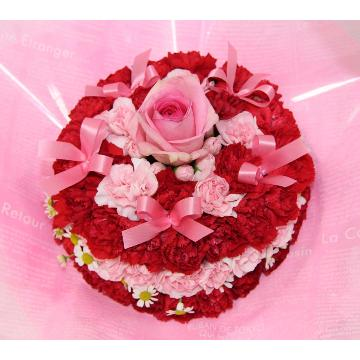<フジテレビフラワーネット> 赤とピンクのラブリーケーキ♪画像