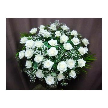 <フジテレビフラワーネット> 美しさ満点 白バラのハッピードリーム*^。^*画像