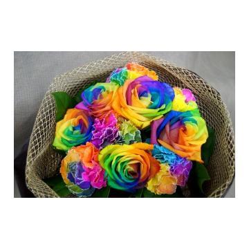 虹色のバラレインボーローズ&カーネーションの花束