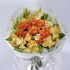 黄色とオレンジ色のバラ(B-109)