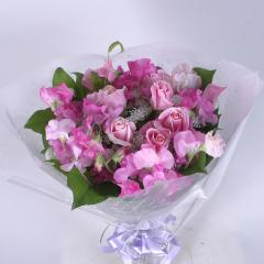 ピンクバラとスイ-トピ-の花束(B-104)
