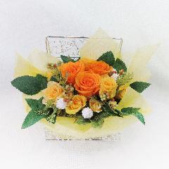 黄薔薇プリザーブドフラワーをジュエリーボックスにアレンジ「のどか」