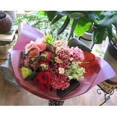 Reddish-pink colored  bouquet