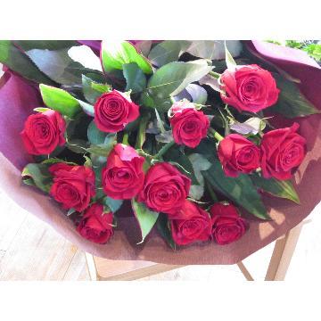 <フジテレビフラワーネット> 12 RED ROSES (Dozen roses)画像