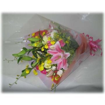 <フジテレビフラワーネット> オンシジュウム・ハイブリットユリの豪華な花束画像