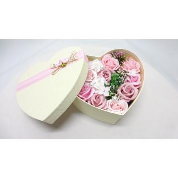 <フジテレビフラワーネット> シャボンフラワーローズハートBOX/ピンク画像