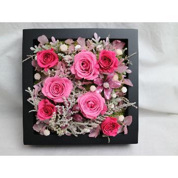 フレームの中に濃淡ピンクのバラ
