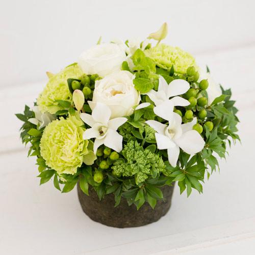 <フジテレビフラワーネット> ホワイトローズのアレンジメント