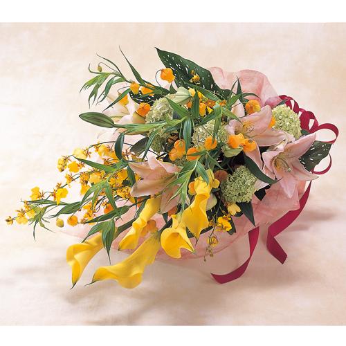 <フジテレビフラワーネット> サンダーソニアとカラーの花束