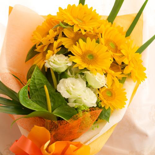 <フジテレビフラワーネット> ひまわりとトルコギキョウの花束